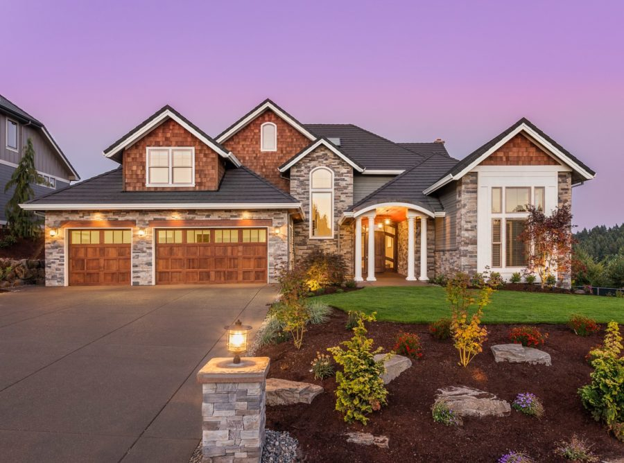 Exterior view of single-family ranch-style home in prairie craftsman architecture style