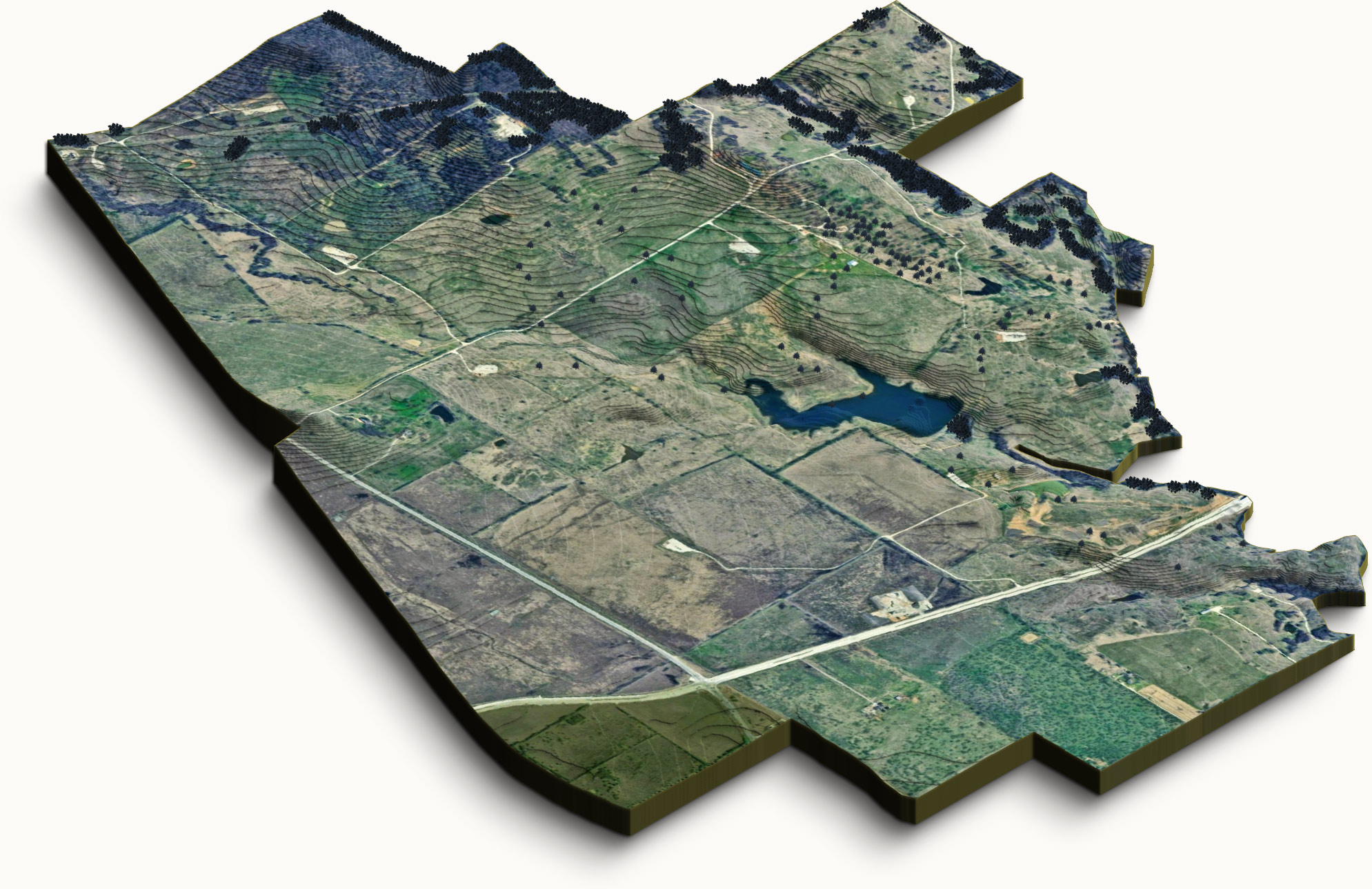 Topographical map of Furst Ranch